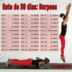 Reto de 30 días de burpees (ejercicio de cardio) para bajar de peso y tonificar el cuerpo
