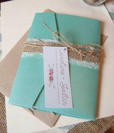 rustic wedding invitation burlap wedding by thepinkvioletshop