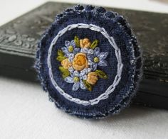 Blue Brooch with Yellow Roses by Sidereal on Etsy, $25.00