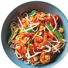 Sweet and Spicy Shrimp with Rice Noodles - http://www.myrecipes.com/recipe/sweet-spicy-shrimp