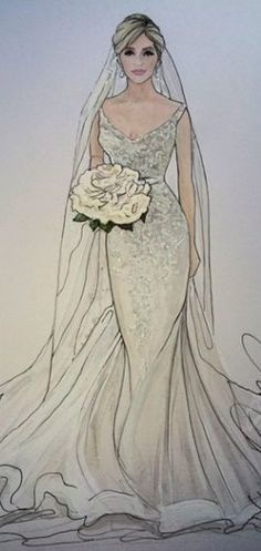 Karen Orr Bridal Illustration There are different rumors about the history of the marriage dress; tesettür First Narration; Wedding Dress Illustrations, Wedding Dress Sketches, Dress Design Sketches, Fashion Illustration Sketches, Illustration Mode, Fashion Sketches, Fashion Images, Fashion Art, Fashion Looks