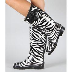 Amazon.com: Top Moda Women's Rain-1 Black White Zebra Prints Rain Boots: Shoes