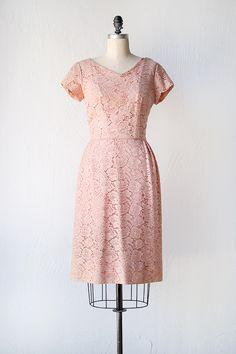 Modest Heroine Dress   Pink lace wiggle dress, 1950s   Adored Vintage