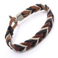 Couro Pulseira Tribal Surf Mens Bracelet B490