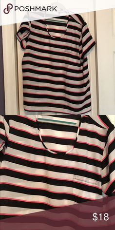Striped pocket satin top from Victoria's Secret Cute striped top. Gently used. No flaws Victoria's Secret Tops