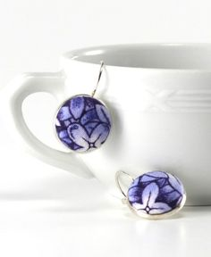 Flowers Dangle Earrings, Delft Blue Porcelain, Silver Toned Leverback Earrings, Blue Hydrangea, Fabric Covered Buttons, Jewelry by PatchworkMillJewelry on Etsy