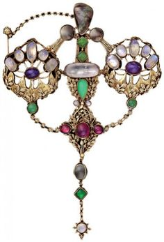 1908 by John Paul Cooper  was an architect and a leading craftsman in the Arts and Crafts Movement, specialising in metalwork and jewellery. He is particularly noted for the use of materials such as shagreen and ostrich egg in combination with precious metals and gemstones.[ Art Noveau
