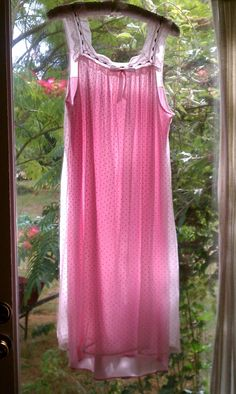 Vintage Light Pink Polka Dot Sheer Nighty by CandyCollins on Etsy. $15.00, via Etsy.