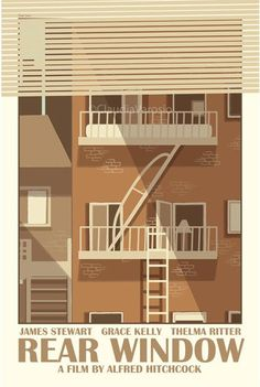 Rear Window Print by Claudia Varosio Featuring Varosio's original ideas and artwork, this poster is inspired by Hitchcock's Greenwich Village murder mystery. Best Movie Posters, Minimal Movie Posters, Film Posters, Rear Window Movie, Window Film, The Cooler Movie, Window Poster, Alfred Hitchcock, Hitchcock Film