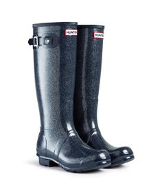 hunter original tall navy glitter wellies