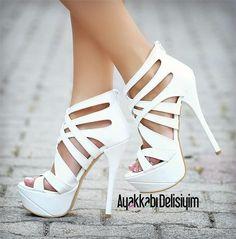 Gelinlere Özel - Alis Beyaz Platform Topuklu Ayakkabı #bridal #shoes #heels