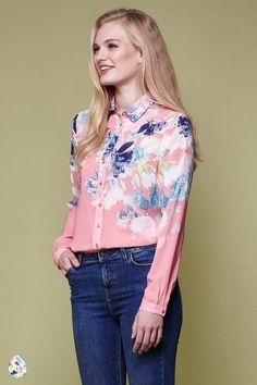 Watercolour Floral Print Shirt Coral   Yumi