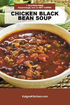 Black Bean Soup, Black Beans, Chicken Soup Recipes, Chili Recipes, South Beach Diet, Cilantro, Stew, Low Carb, Gluten Free