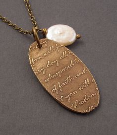Bronze Love Letter Necklace White Coin Pearl