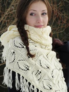 """Snowstorm"" (knitted shawl, wrap, knitting lace, wool shawl, entrelac)"