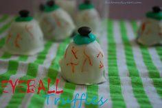 Eyeball Truffles. Creepy treats the kids can make for Halloween!