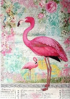 Rice Paper for Decoupage, Scrapbooking, Sheet Craft Royal Pink Flamingo