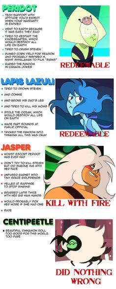 Geez jasper should return dang it! Lapis was way worse than jasper >_<<<<<< SHUT UP LAPIS IS A BEAUTIFUL BEAN AND JASPER SUCKED