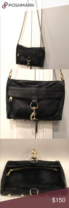 Rebecca Minkoff Large MAC Cross-body Bag This Black Large Cross-body Bag by Rebecca Minkoff exemplifies great detailing and features. Its exterior is made of Equus Caballus (horse-dyed fur) and Cowhide Leather. Its interior is lined with leopard print and has three inside pockets, one pocket complete with a zipper. The bag's silver toned hardware and studded feet at the bottom perfectly accent any and every look! Chain straps optional. Rebecca Minkoff Bags Crossbody Bags