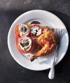 Smoky Butterflied Chicken With Garlic-Mayo Tomatoes and Herbs
