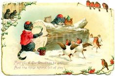 """""""May you at Christmas tide be gay, And  like these kittens, full of play!"""" vintage Christmas postcard"""