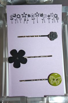 Retro Flower and Butterfly Bobby Pins (set of 3) $8.00