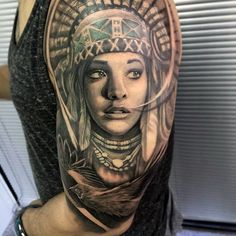 Large Blue Eyed Native American Girl Tattoo Mens Arms