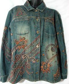 Chicos embelezado Jaqueta Jeans Bordado Miçangas Hippie Boho Denim tamanho 1 (m 8/10) | Roupas, calçados e acessórios, Roupas femininas, Casacos e jaquetas | eBay!