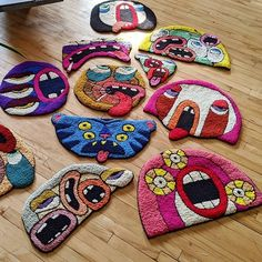 Funky Rugs, Cool Rugs, Diy Embroidery, Embroidery Patterns, Estilo Kitsch, Horror Decor, Magic Carpet, Hand Tufted Rugs, Punch Needle