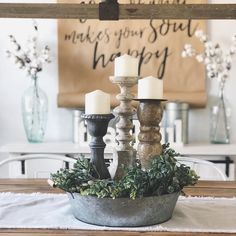 "58 Likes, 3 Comments - Jenn (@fauxcheltyfarmhouse) on Instagram: ""Anyone else love centerpieces? This centerpiece was easy to make with a small bucket, garland, and…"""