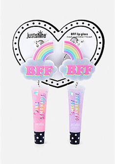 Rainbow BFF Lip Gloss Key Chain Set me and liv got this Kids Makeup, Cute Makeup, Bff, Unicorn Fashion, Diy Lip Balm, Unicorn Makeup, Lipgloss, Best Friend Jewelry, All I Ever Wanted