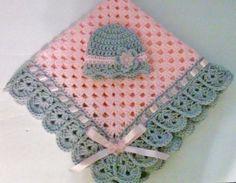 Mano de ganchillo bebé manta y sombrero de Set abuela