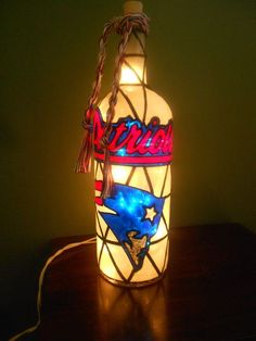 Lighted Handpainted Wine Bottle Patriots inspired Stained Glass look