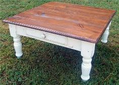 40in Square Country Farm Coffee Table, Seamless Top, Large Turned Farm Leg, Drawer