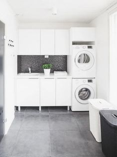 modern laundry room design, modern laundry room organization, laundry room cabinets with sink and open shelves and tile floor, laundry in mudroom design Laundry Room Inspiration, Laundry Room Makeover, Laundry Room Tile, Modern Laundry Rooms, Room Design, Laundry Mud Room, Interior Design Living Room, Room Tiles, White Laundry