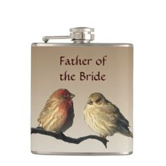 Father of the Bride Finches Wedding Flask