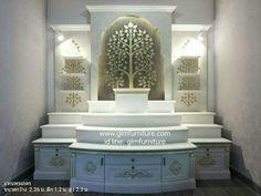 Temple Design For Home, Home Stairs Design, Pooja Room Door Design, Interior Design Living Room, Interior Decorating, House Design, Temple Room, Mandir Design, Ganpati Festival