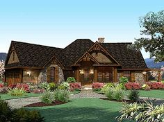 Plan W16801WG: Craftsman, Vacation, Mountain, Cottage, Ranch, Corner Lot House Plans & Home Designs