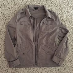 Express Utility Jacket Wore once! Size xs, but fits like a small. Larger feel to it. Utility style jacket. Brown/gray color. Express Jackets & Coats Utility Jackets