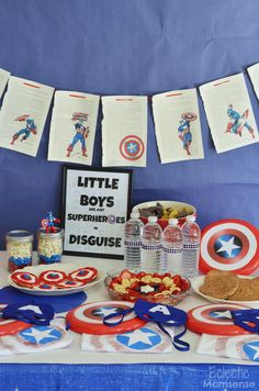 Captain America Party- Your little superheroes will love this super simple Captain America party. You'll love how easy it is to throw a budget friendly soiree with themed food, fun, and decor. superheroes, M&Ms Hulk Birthday Parties, Superhero Birthday Party, Boy Birthday, Captain America Party, Captain America Birthday, America Themed Party, Splash Party, 5th Birthday Party Ideas, Avengers Birthday