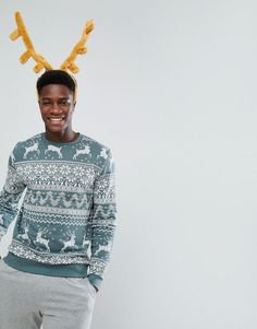 ASOS Sweatshirt In Holidays Fair Isle Print - Green