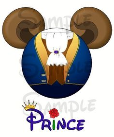Beast (Beauty and the Beast) character Mickey head DIGITAL printable file DIY on Etsy, $3.00