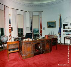 Oval Office (Nov. 1963 redecoration, never seen by JFK who was very involved in the selection of fabrics, carpet, paint, etc.)