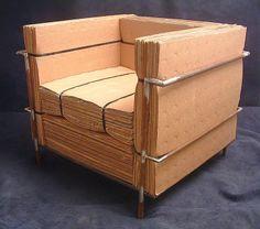 Uau.... MAIS QUE PAPELÃO!!! Le Gran Confort Club Chair de Le Corbusier, na versão kraft de Nick Michelin