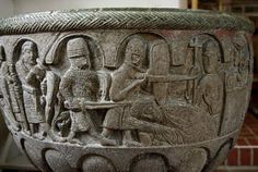 The Murder of Thomas Becket, Archbishop of Canterbury. Font, Lyngsjo Church, Scania, southern Sweden, late 12th century