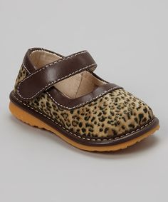 Take a look at this Brown Leopard Animal Instinct Squeaker Shoe by Izzy Bug Creations on #zulily today!