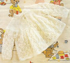Baby Matinee Jacket Bonnet and Bootees Knitting Pattern. Baby Knitting Patterns, Baby Girl Patterns, Baby Cardigan Knitting Pattern, Coat Patterns, Knit Baby Sweaters, Knitted Baby Clothes, Baby Knits, Vintage Knitting, Crochet Baby