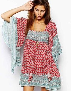 Free People   Free People Dress in Paisley Print with Flared Sleeve at ASOS