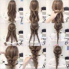 自分でもできる簡単アレンジ☆  一般の方向けに ロング ダウンアレンジ☆  三つ編みができる方は 簡単にできるので 是非お試し下さい☆  #ヘアアレンジ#コーデ #ファッション#大阪 #hairstyle#beauty#gスタイル