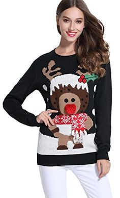 Womens Ugly Christmas Sweater Crew Neck Pullover Reindeer Printed Sweatshirt Girl Red Black Merry Tunic Knitted Tops